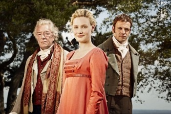 Mr Woodhouse (Michael Gambon), Emma (Romola Garai) and Knightley (Jonny Lee Miller). Photograph: David Venni/BBC