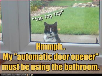 Humpf. Meu 'abridor automático de porta' deve estar no banheiro.