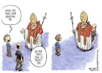-Pai, este padre está me molestando. -Pobre criança. Venha. Eu protejo você.