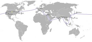 O itinerário de Phileas Fogg e Passepartout