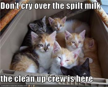 Não chore sobre o leite derramado, a equipe de limpeza está aqui