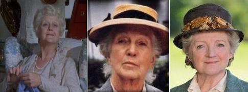 Miss Marple: Angela Lansbury (1980), Joan Hickson (1992), Julia McKenzie (2010